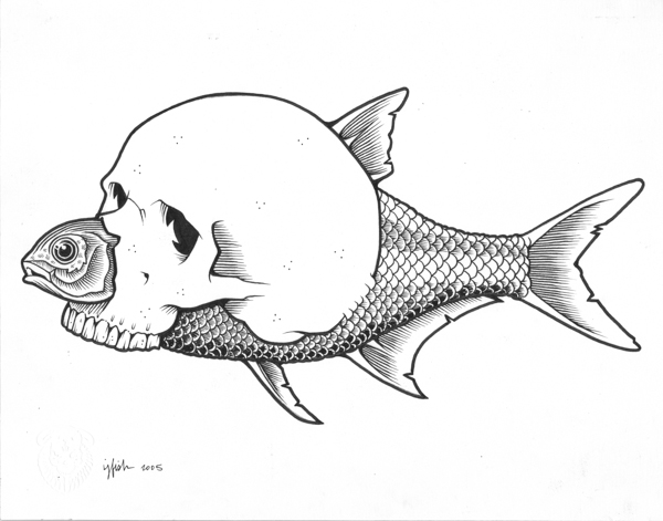 "Juxtapoz x Adobe: Jeremy Fish's Yesterdays and Tomorrows ""Drawings"": 2005 FISH SKULL.jpg"