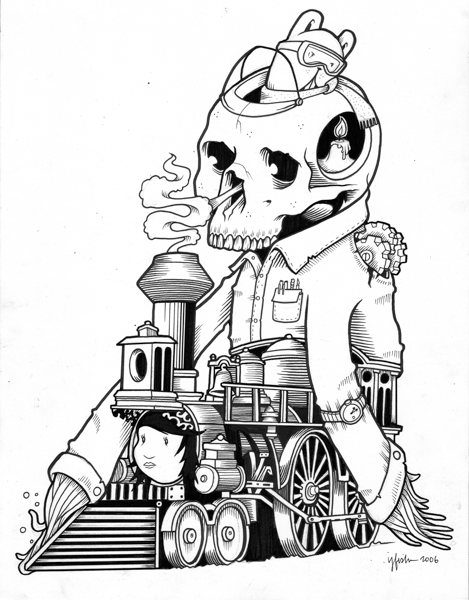 "Juxtapoz x Adobe: Jeremy Fish's Yesterdays and Tomorrows ""Drawings"": 2006 RUNAWAY TRAIN.jpg"