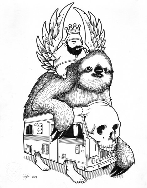 "Juxtapoz x Adobe: Jeremy Fish's Yesterdays and Tomorrows ""Drawings"": 2006 SLOW SLOTH.jpg"