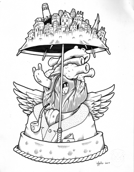 "Juxtapoz x Adobe: Jeremy Fish's Yesterdays and Tomorrows ""Drawings"": 2007 UNTITLED (CITY UMBRELLA).jpg"