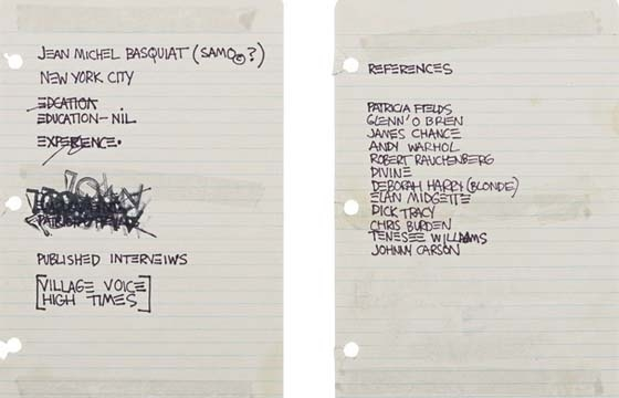 The time that Basquiat's Resume Sold for $50,000